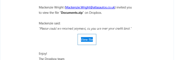 Dropbox Email Scam