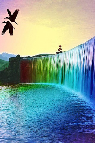 Android Fall Live Wallpaper Download Rainbow Waterfall Iphone Wallpaper Mobile