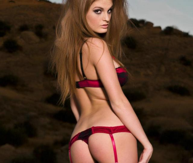 Faye Reagan Sexy Redhead In Red Lingerie And Black Stockings