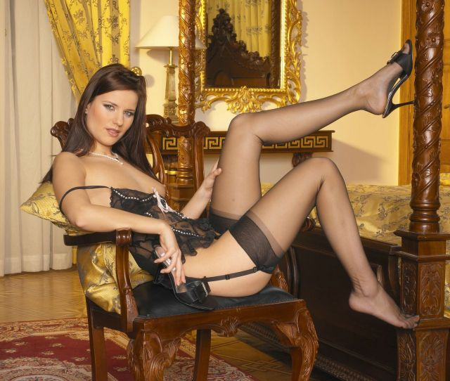Claudia Rossi Sexy In Black Stockings