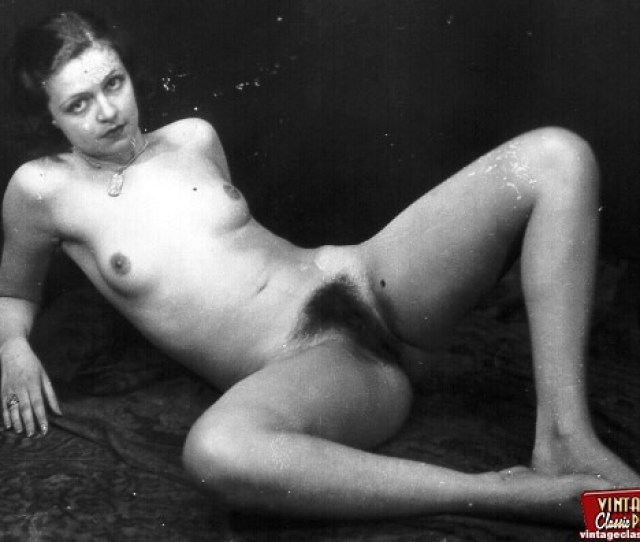 Several Vintage Naked Chicks Showing Their Hairy Pussies