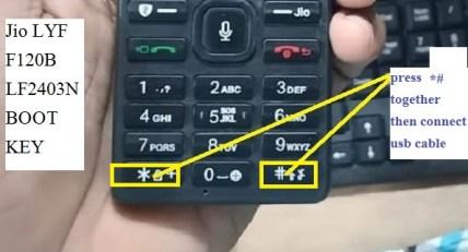 LYF Jio F120B Boot Key