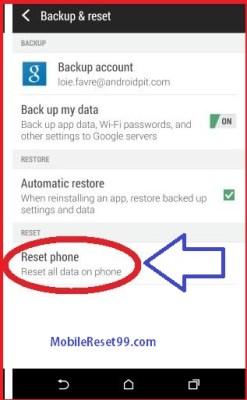 HTC Reset phone