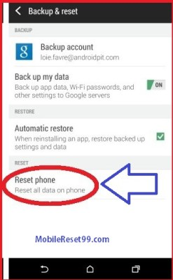 HTC Reset phone