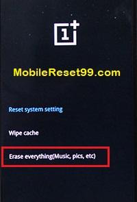 OnePlusHard reset-erase everything option