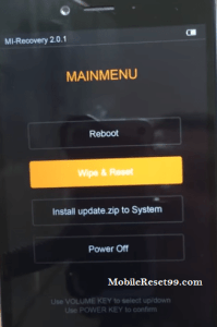 mi note 2 wipe and reset - hard reset