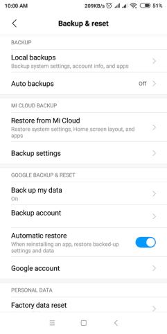 Redmi 6 Backup & reset