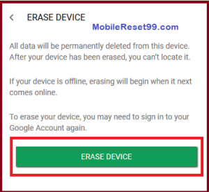 Android Device Manager - Erase device option