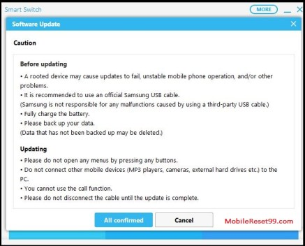 Software update confirm samsung smart switch