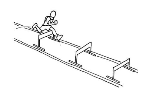 Courir en rythme: Course de haies de 60m avec un