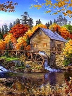 Fall Cottage Wallpaper Download Watermill Mobile Wallpaper Mobile Toones