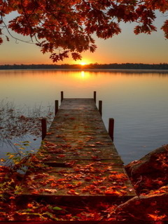 Fall Wallpaper Lake Download Autumn Sunrise Dock Mobile Wallpaper Mobile Toones
