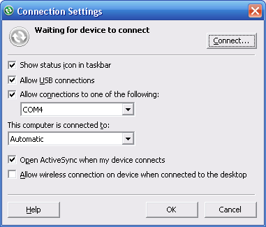 ActiveSync 4.5 Connection Settings