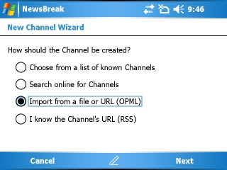 Ilium Software NewsBreak 2.0 Import Screen