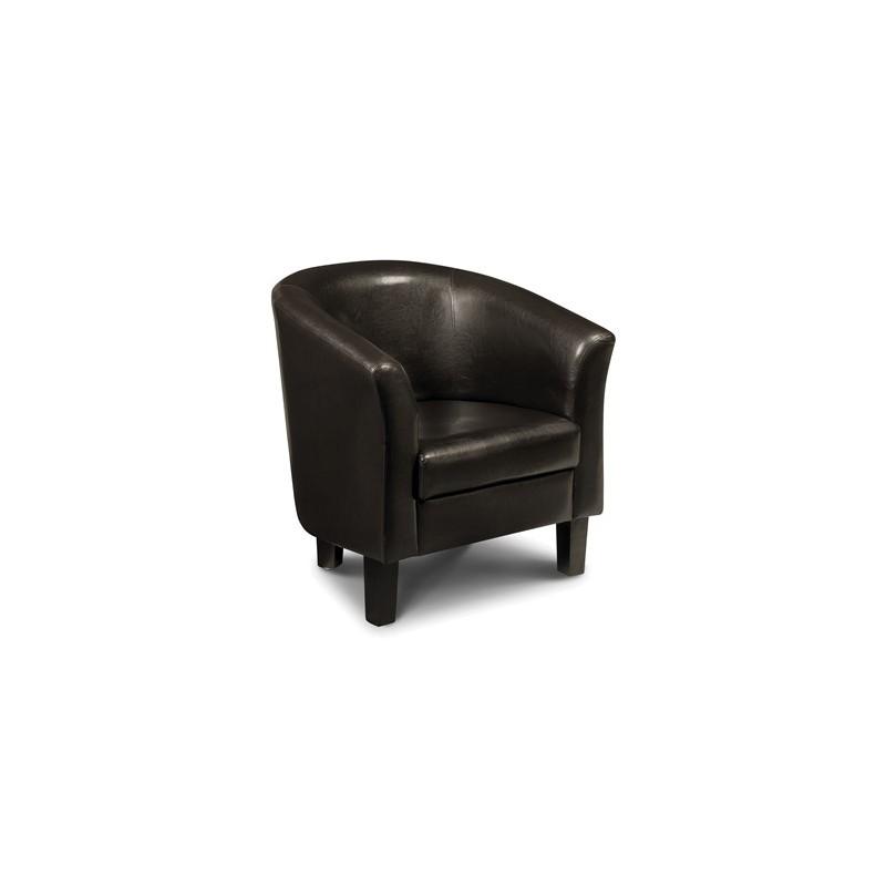fauteuil cabriolet garrick faux cuir marron fonce dim 73x67x75cm
