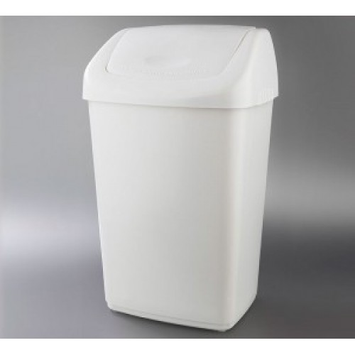 Papelera de plstico con tapa basculante de 50L blanca