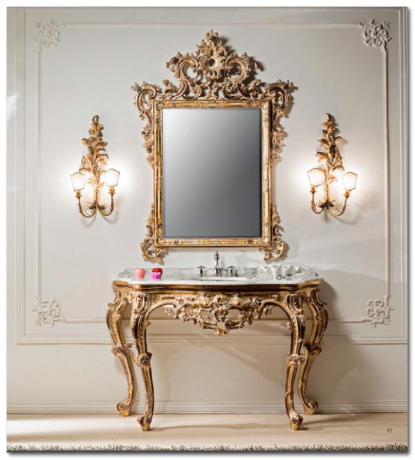 Mobili Buscemi  Arredamenti  Consolle bagno barocco in legno intagliata decorata a mano in
