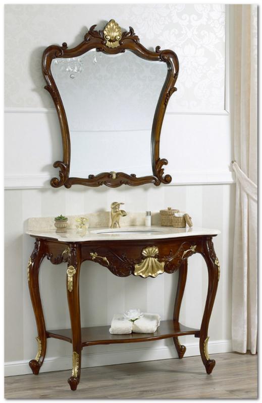 Mobili Buscemi  Arredamenti  Consolle bagno barocco con specchiera finitura noce con