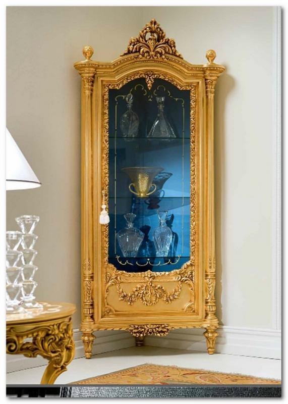 Mobili Buscemi  Arredamenti  Vetrinetta ad angolo in stile barocco 520 foglia oro