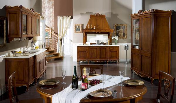 Mobili Buscemi  Arredamenti  Cucina di lusso modello Rond noce