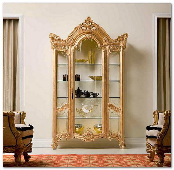 Mobili Buscemi  Arredamenti  Vetrina Barocco modello Apollonia finitura bianco oro