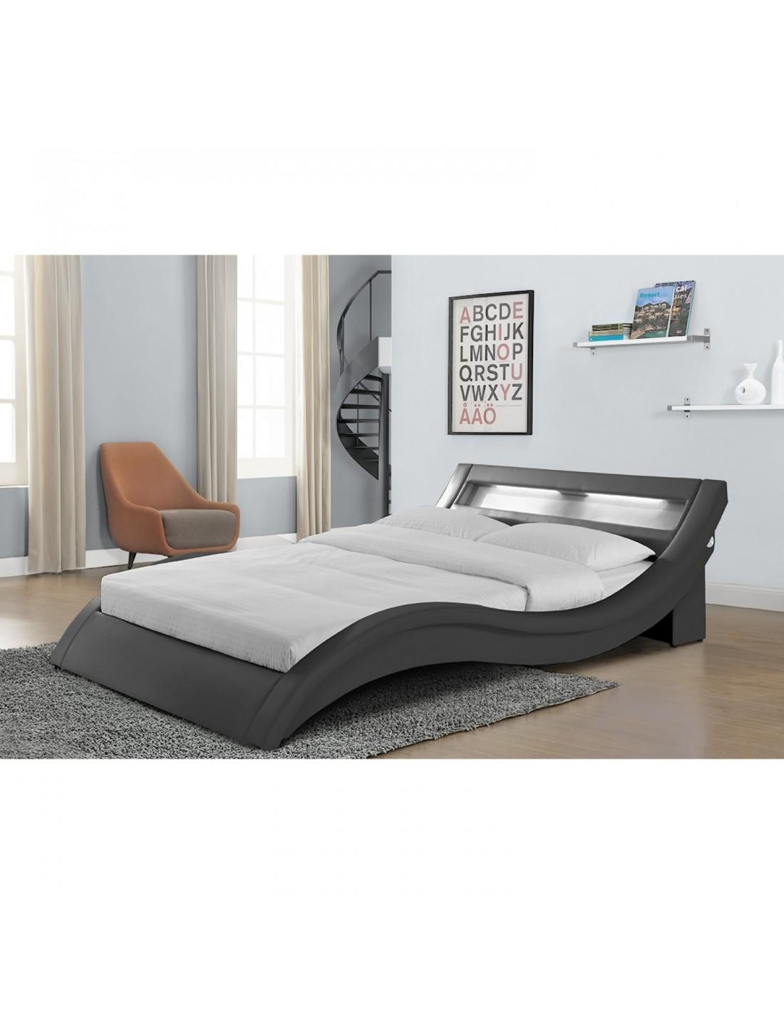 lit cloe simili cuir gris avec led 140 x 190