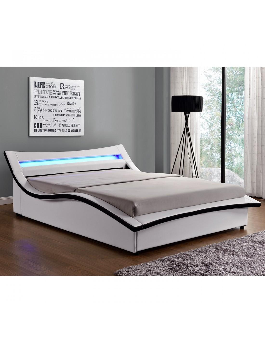 lit aude simili cuir blanc avec led 140 x 190 cm