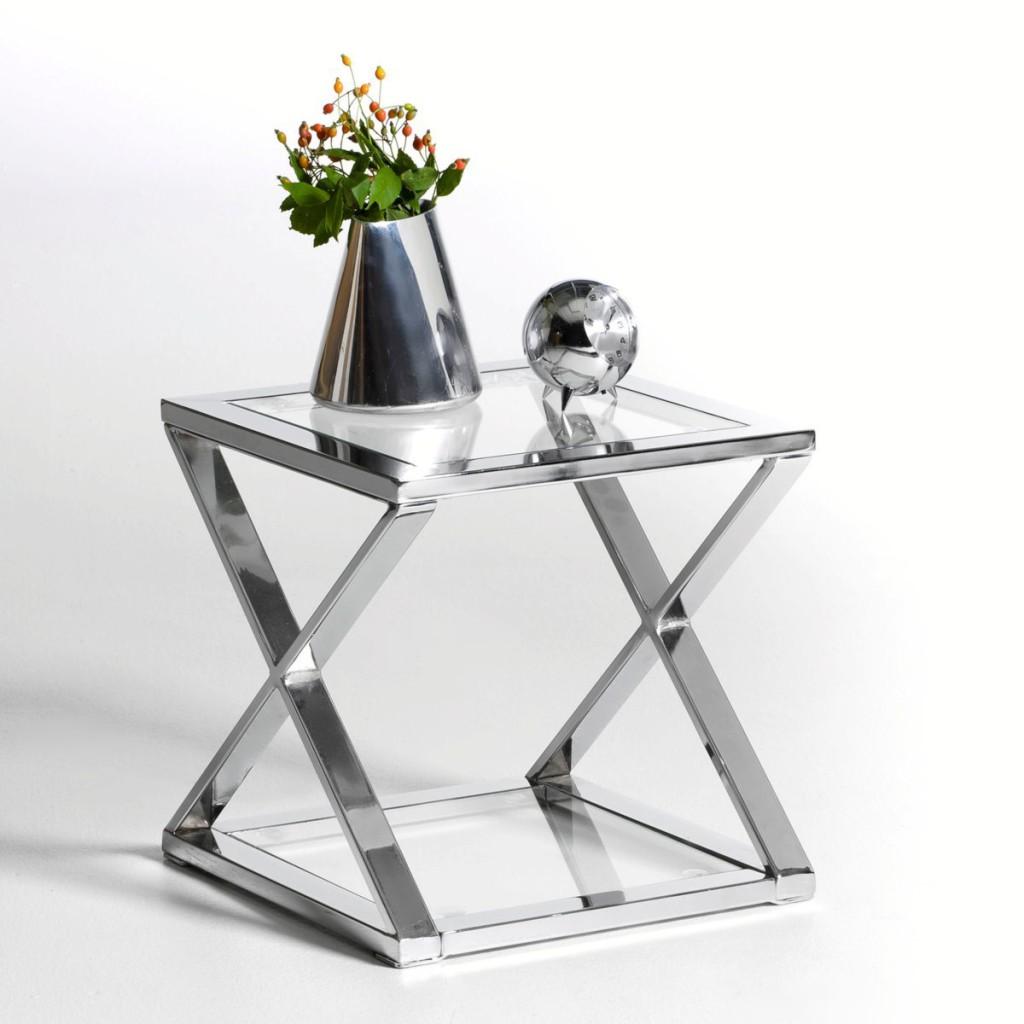 Table De Chevet Verre Metal