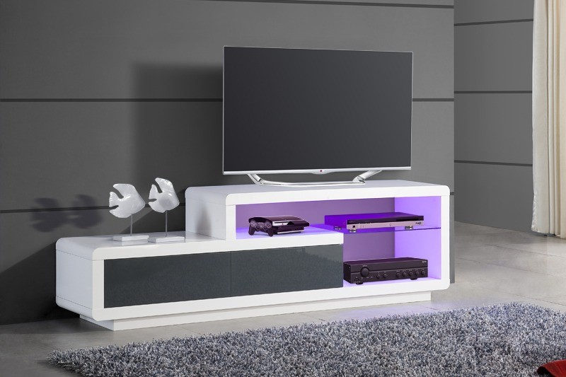 Buffet laqu pas cher awesome buffet blanc et gris with for Grand meuble tv blanc laque