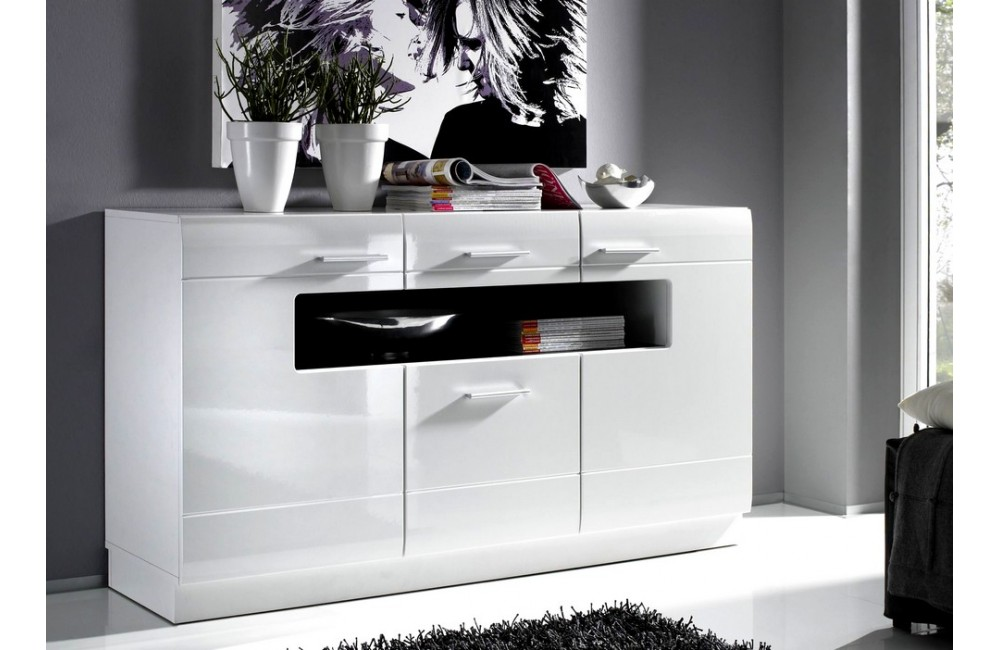 buffet blanc et noir simple e afrodite enfilade portes. Black Bedroom Furniture Sets. Home Design Ideas