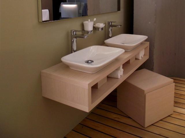 Photo meuble salle de bain fait maison