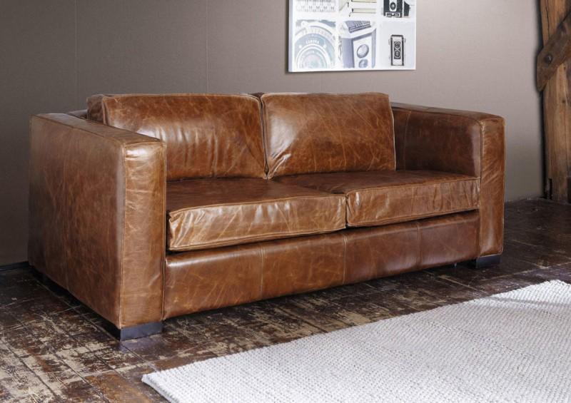 canap cuir vintage marron