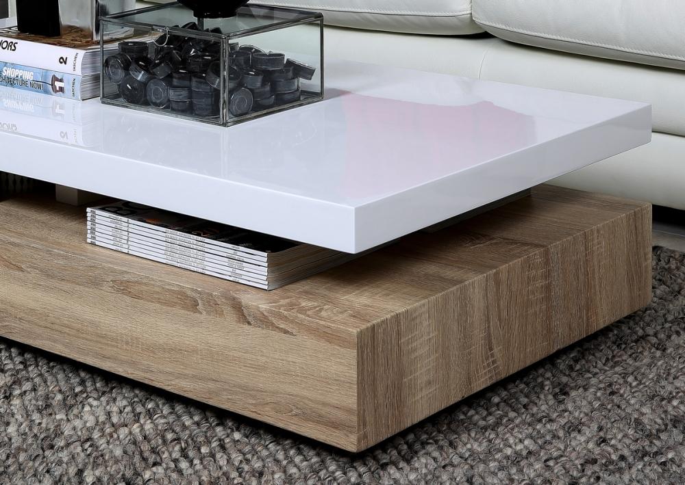 table basse design dessus en bois laque blanc martens
