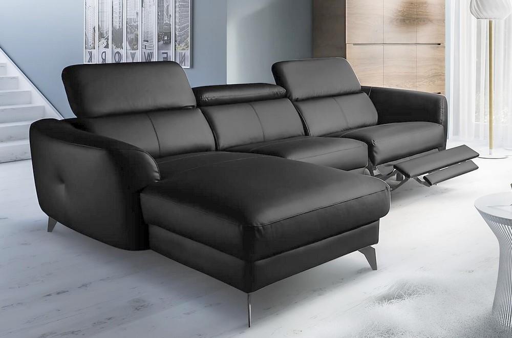 canape d angle relax en cuir de luxe italien avec relax electrique 5 places bertoni noir angle gauche