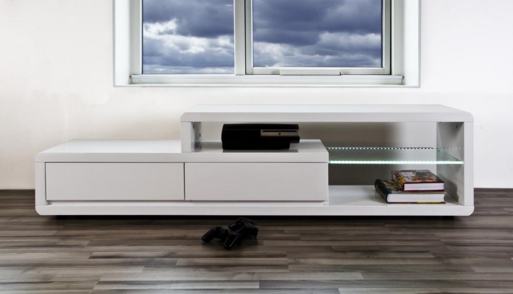 meuble tv design blanc laque brillant erta