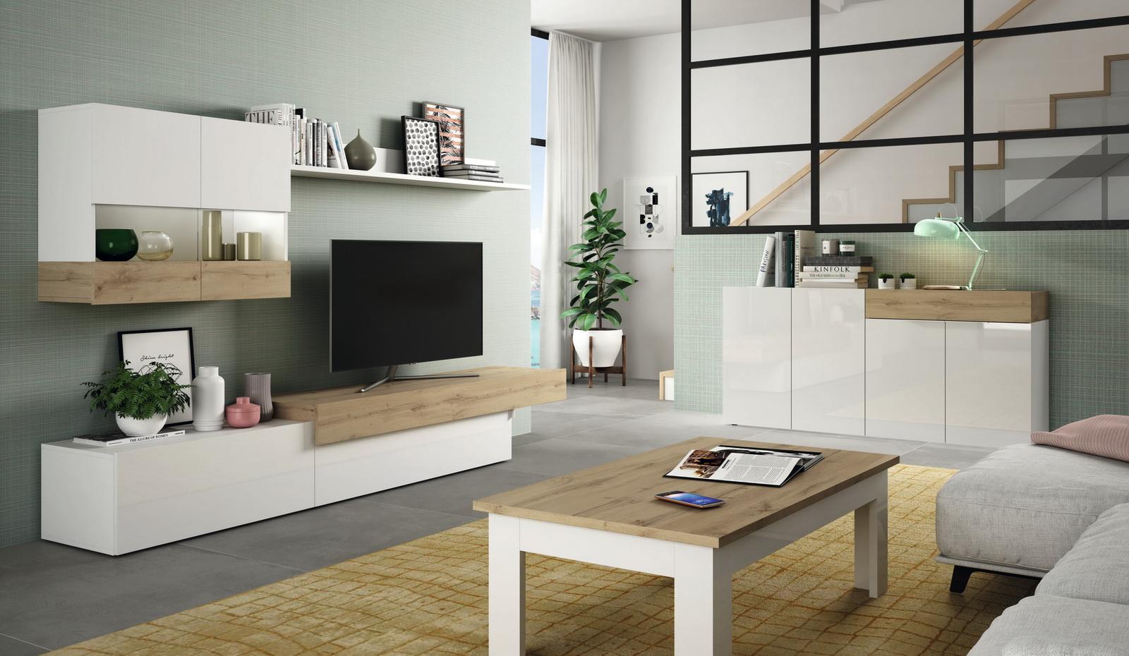 achat ensemble salon meuble tv aura 205plus compose de 9 elements ramis mobilier interieur