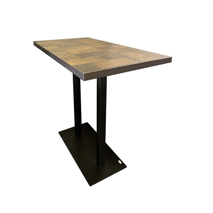 table mange debout 120 60 cm avec pied rectangulaire f58 en fonte noir ultra plat hauteur 110 cm