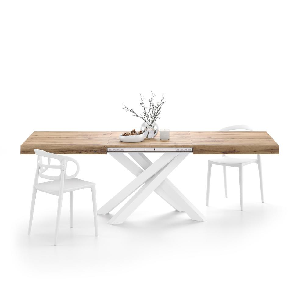 extendable table with white crossed legs emma rustic wood