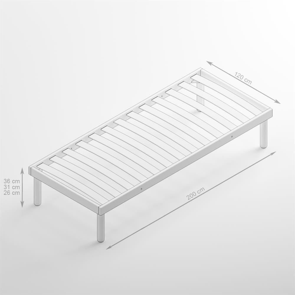 Französisches Bett Holz Lattenrost 120X200 31H   Mobili Fiver