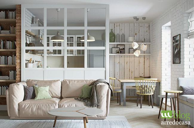 Pareti divisorie e porte in vetro per cucina e soggiorno