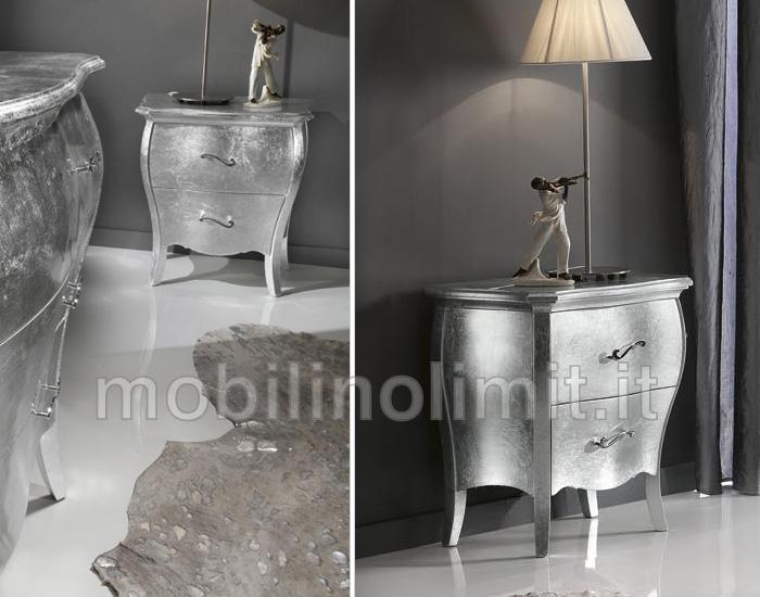 Comodino 2 cassetti  foglia argento