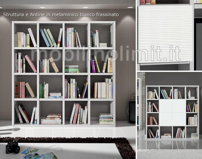 Libreria a Giorno Bianco Frassinato 175