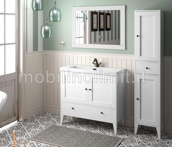 Mobile Bagno Bianco Vintage con lavabo  serie Toscana L90