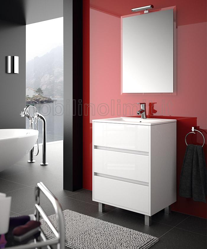 Mobile bagno moderno con piedini L 60  Bianco Lucido