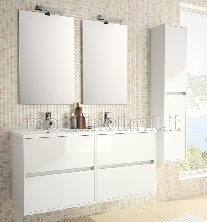 Mobile bagno moderno doppio lavabo  L120  Bianco
