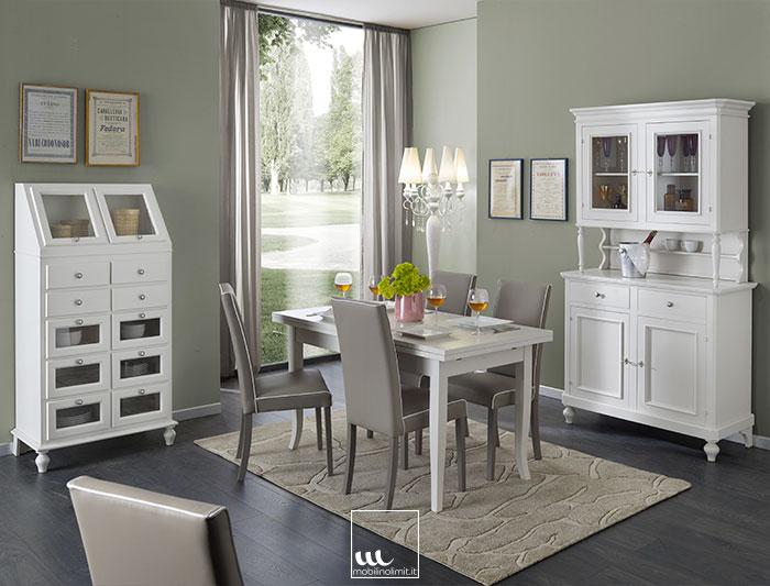 Sala da pranzo con Dispensa  Bianco Opaco