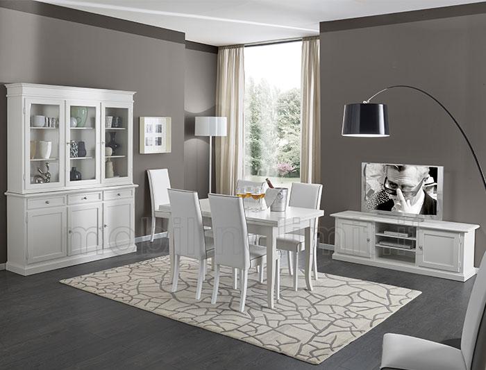 Sala da pranzo con Porta TV  Bianco Opaco
