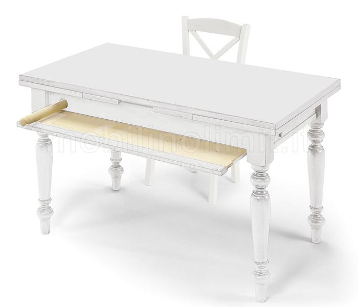 Tavolo da Cucina Attrezzato 140 cm  Bianco Opaco