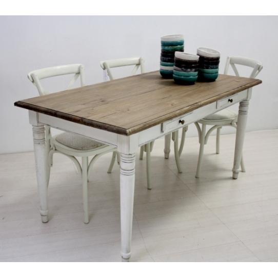 Tavolo legno fisso bianco shabby  Mobili Provenzali On Line