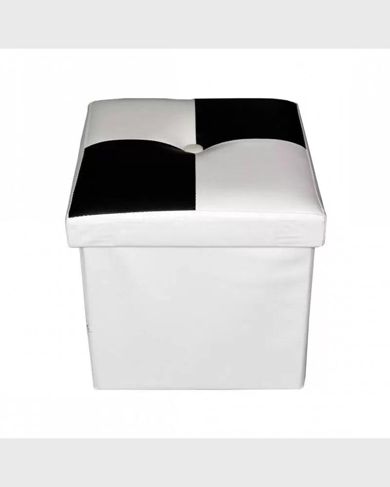 pouf de rangement cube moderne noir et blanc mobili rebecca